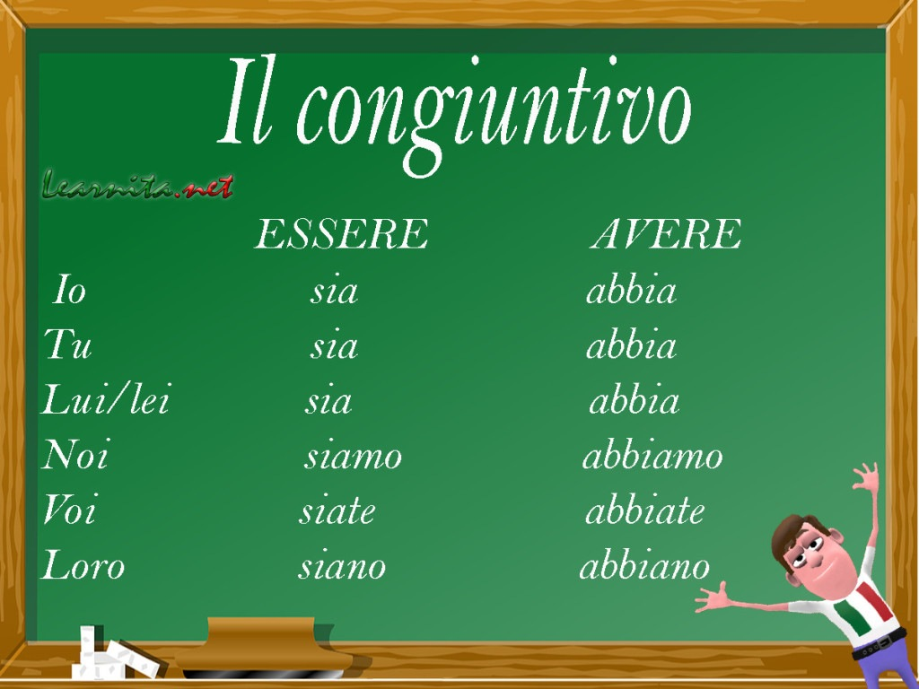 Italian congiuntivo - present